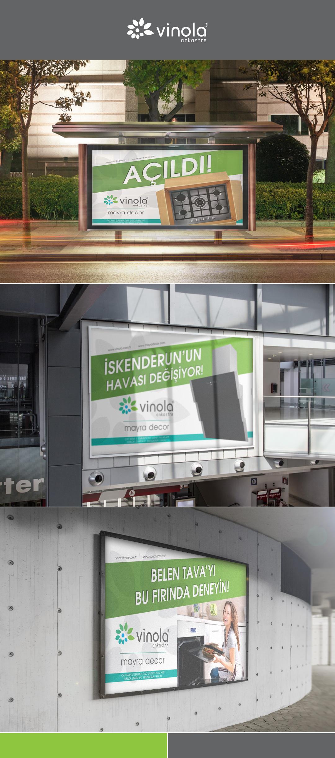 Vinola Ankastre Hatay Şubesi açılışı için hazırlanan billboard tasarımları